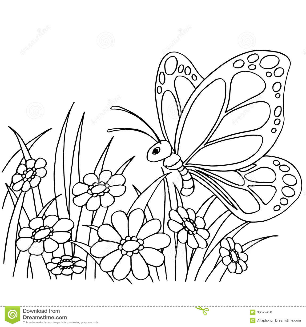 Butterfly And Flower Cartoon Coloring Page Vector Stock Vector ...