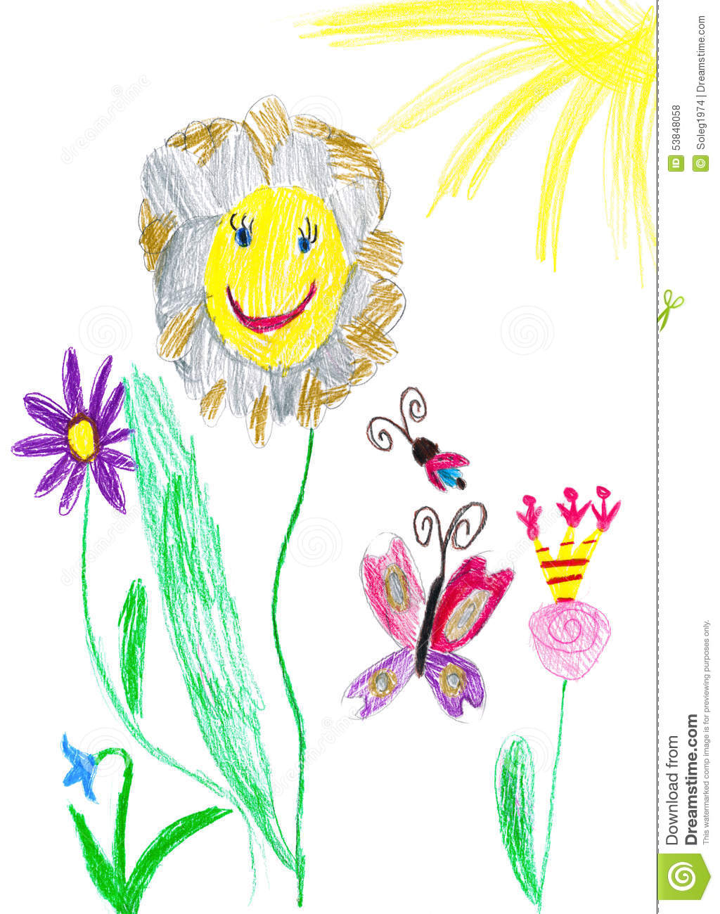 Flower Child Line Drawing : Butterfly and flower child drawing stock illustration