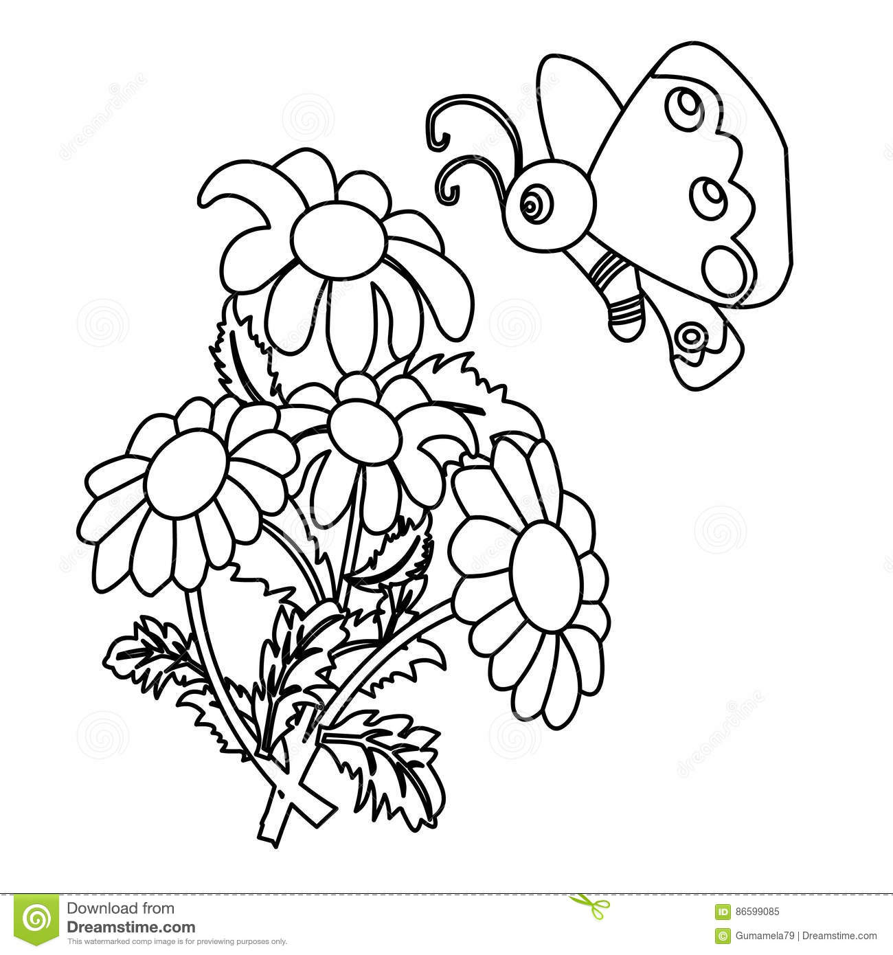 Butterfly In A Flower Coloring Page Stock Illustration ...