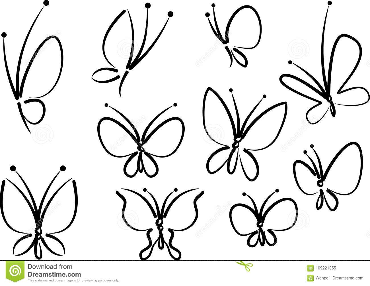 Butterfly with flower design vector drawing icon