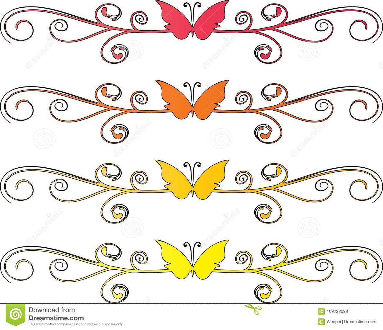 Flower And Butterfly Drawing Background Stock Illustration