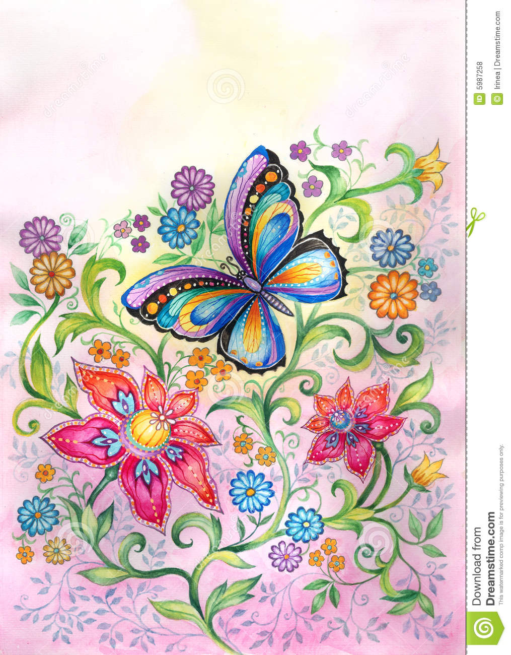 butterfly in flowers royalty free stock photos image 5987258