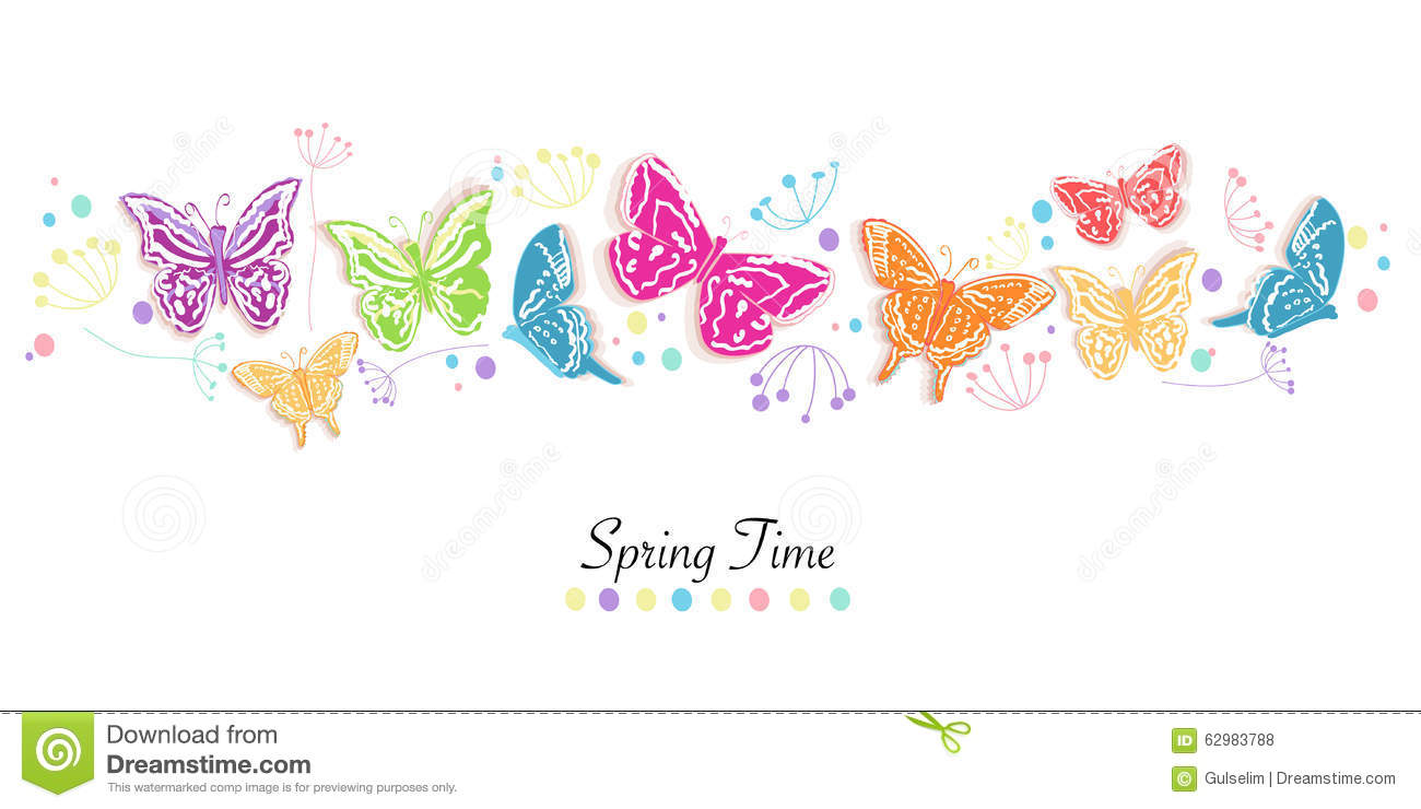 Butterfly And Flowers Abstract Spring Time Banner Vector ...