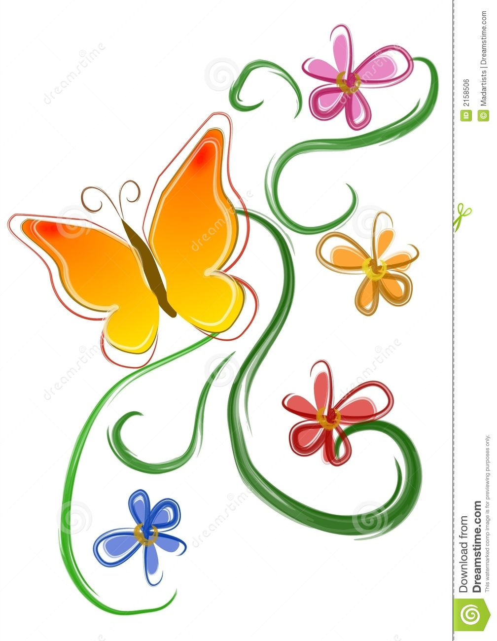 Royalty Free Stock Image  Butterfly Flowers Clip Art 01Flower And Butterfly Border Clip Art
