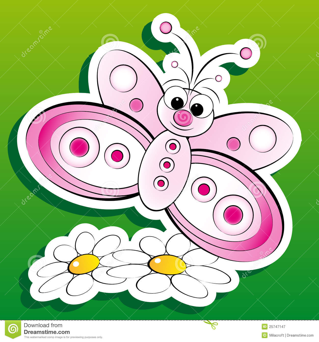 Butterfly and flowers - Kid Illustration