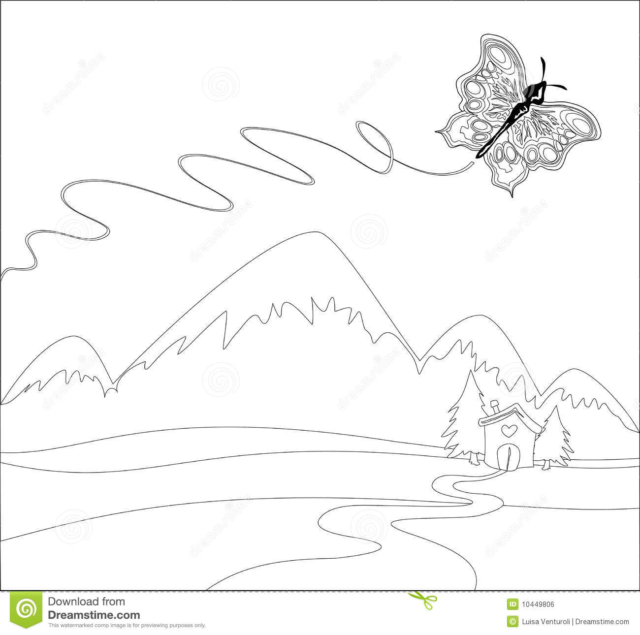 butterfly flying on mountains image to color royalty free stock