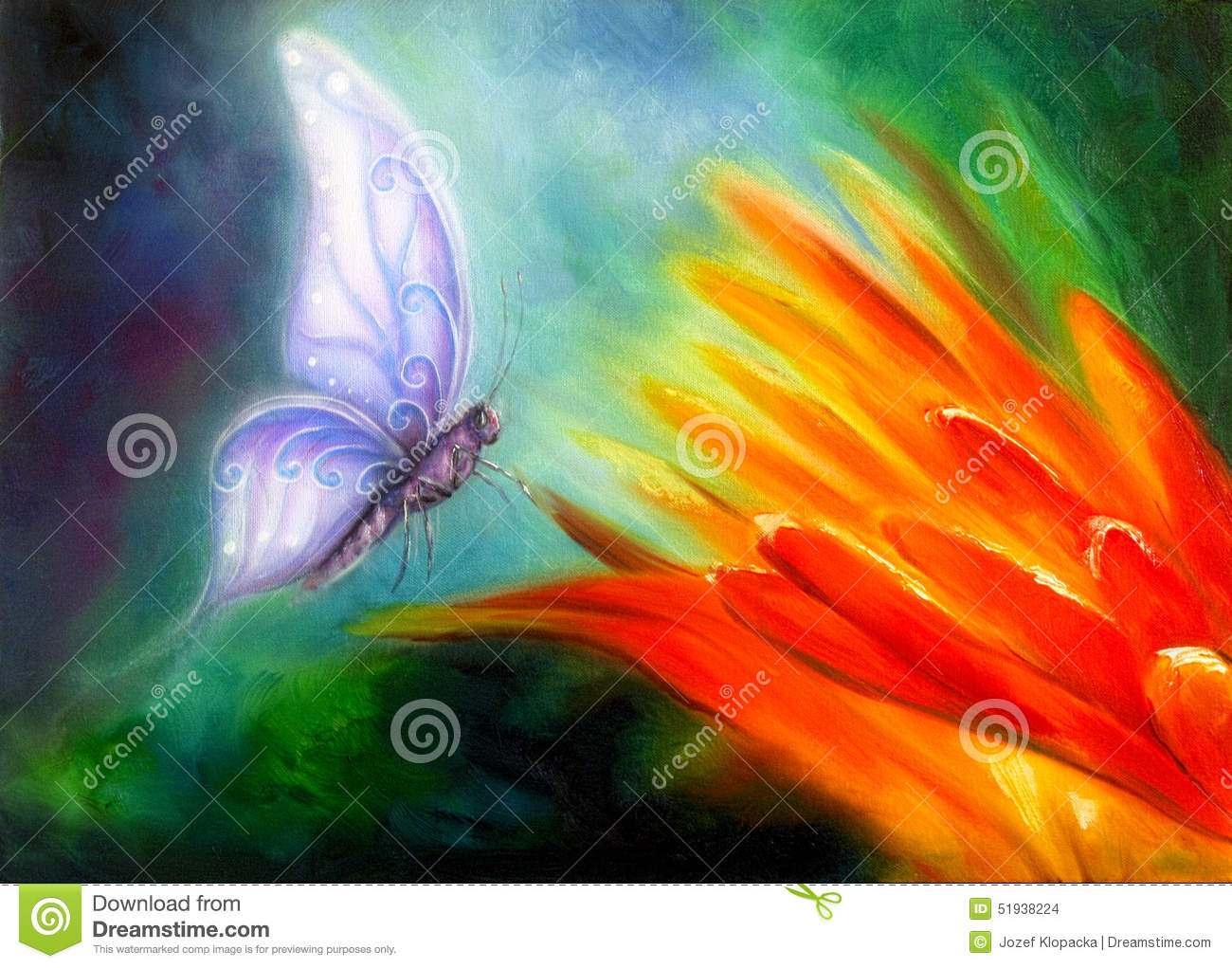 Butterfly Flying Towards A Bright Orange Flower Beautiful Detailed Colorful Oil Painting On Canvas Stock Illustration