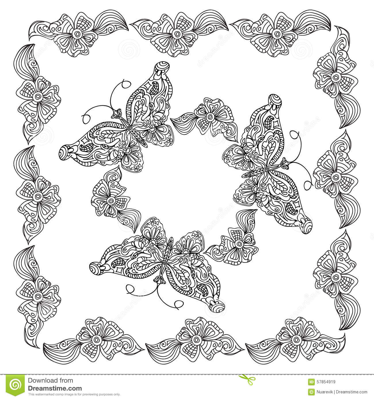 butterfly frame coloring page stock illustration image 57854919