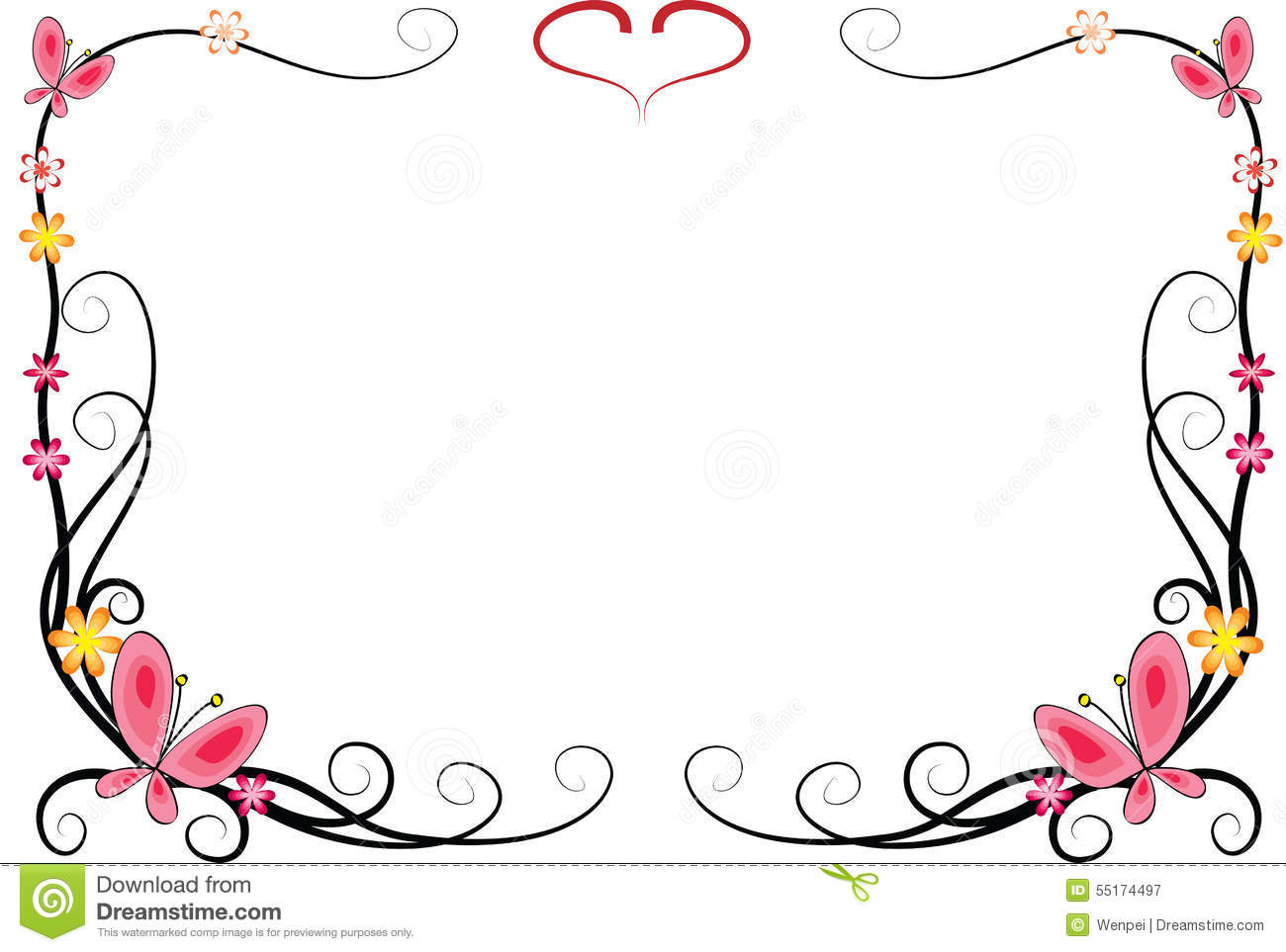 Flower Frame Line Drawing : Butterfly with frame stock illustration image