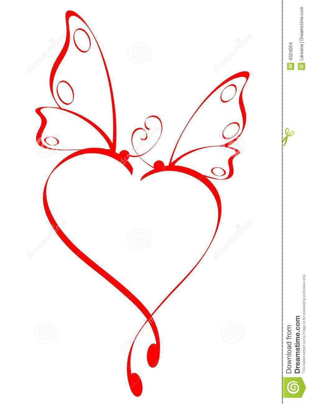 Butterfly And Hearts Coloring Pages