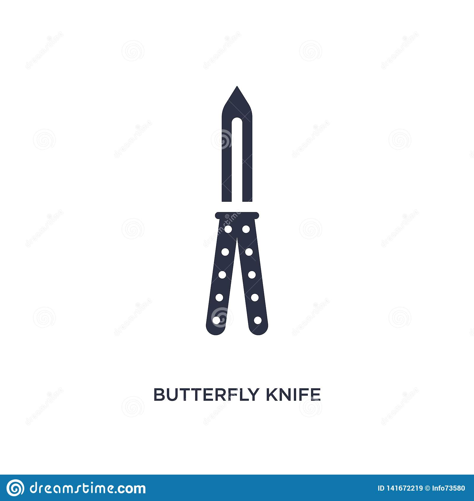 Butterfly Knife Icon On White Background Simple Element