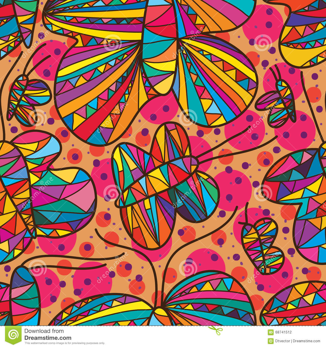 butterfly line drawing free seamless pattern stock vector image