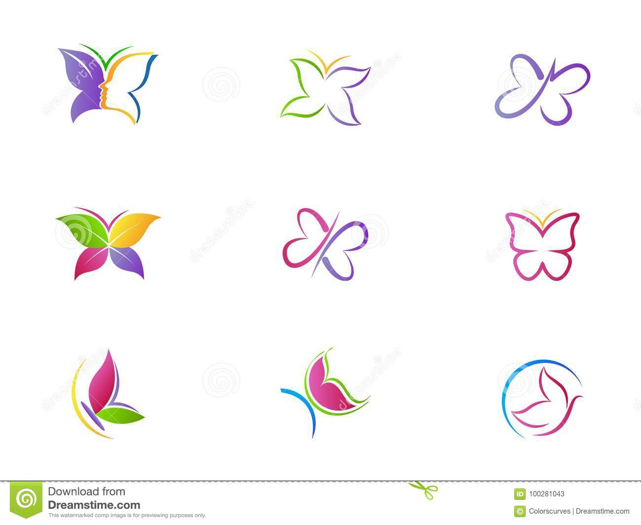 Butterfly Logo Beauty Spa Lifestyle Care Relax Abstract Wings Set Of