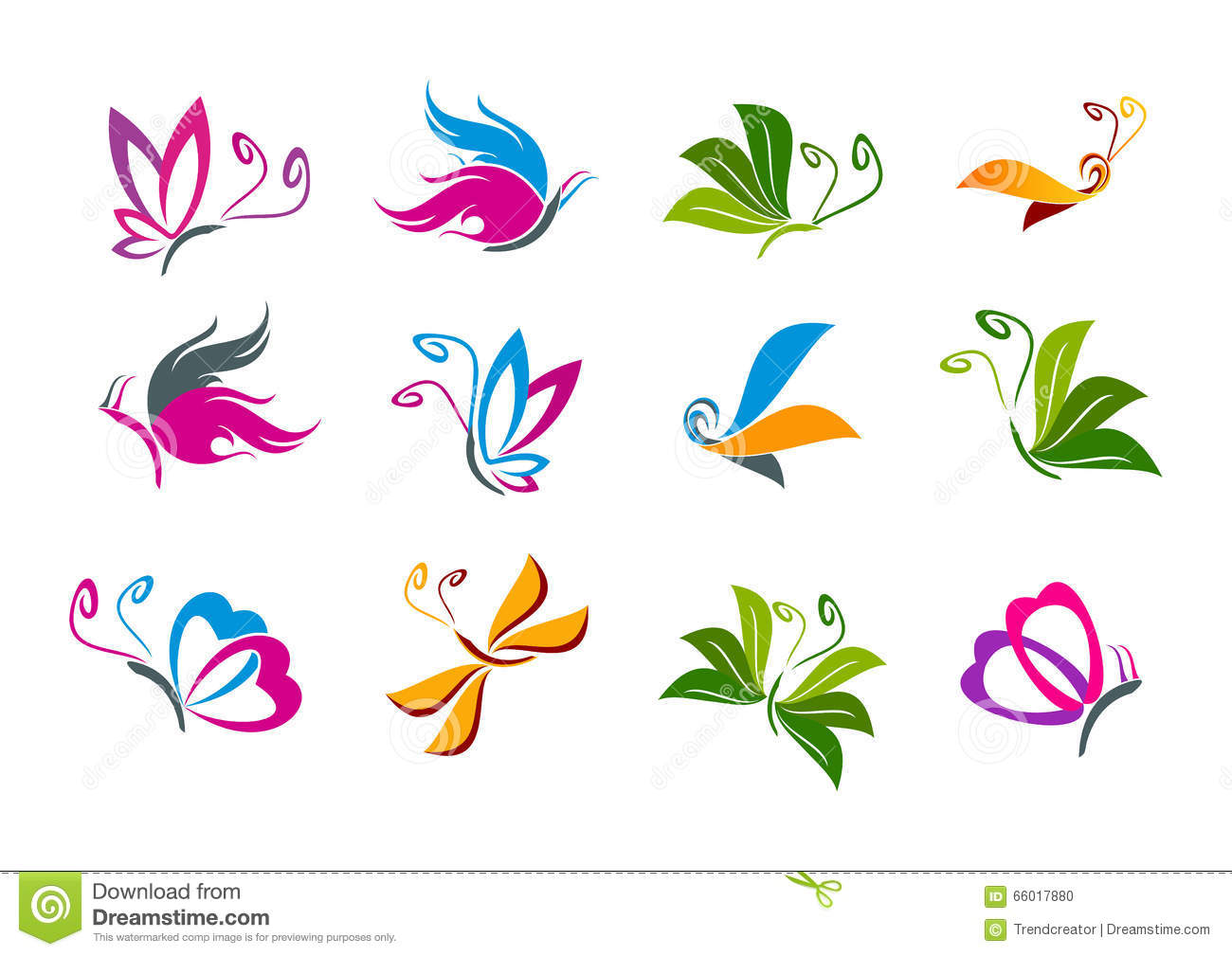 butterfly logo design stock vector image 66017880