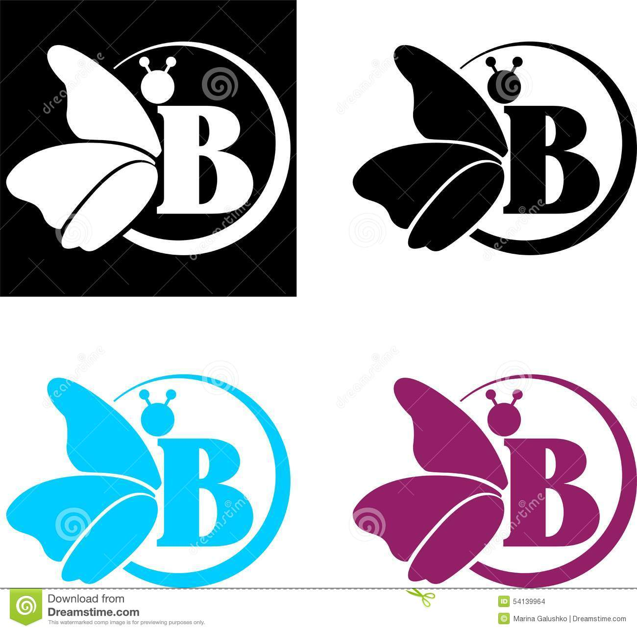 Logotype butterfly and letter b in different colour variants on a - Butterfly Logo And The Letter B Stock Images