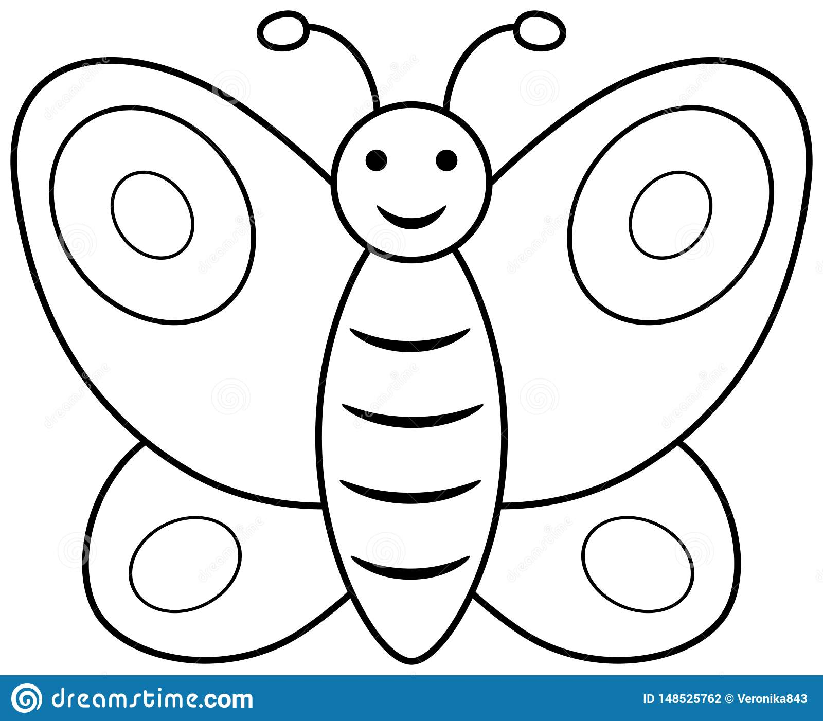 Butterfly Outline Clipart. Vector Coloring Book Page For ...