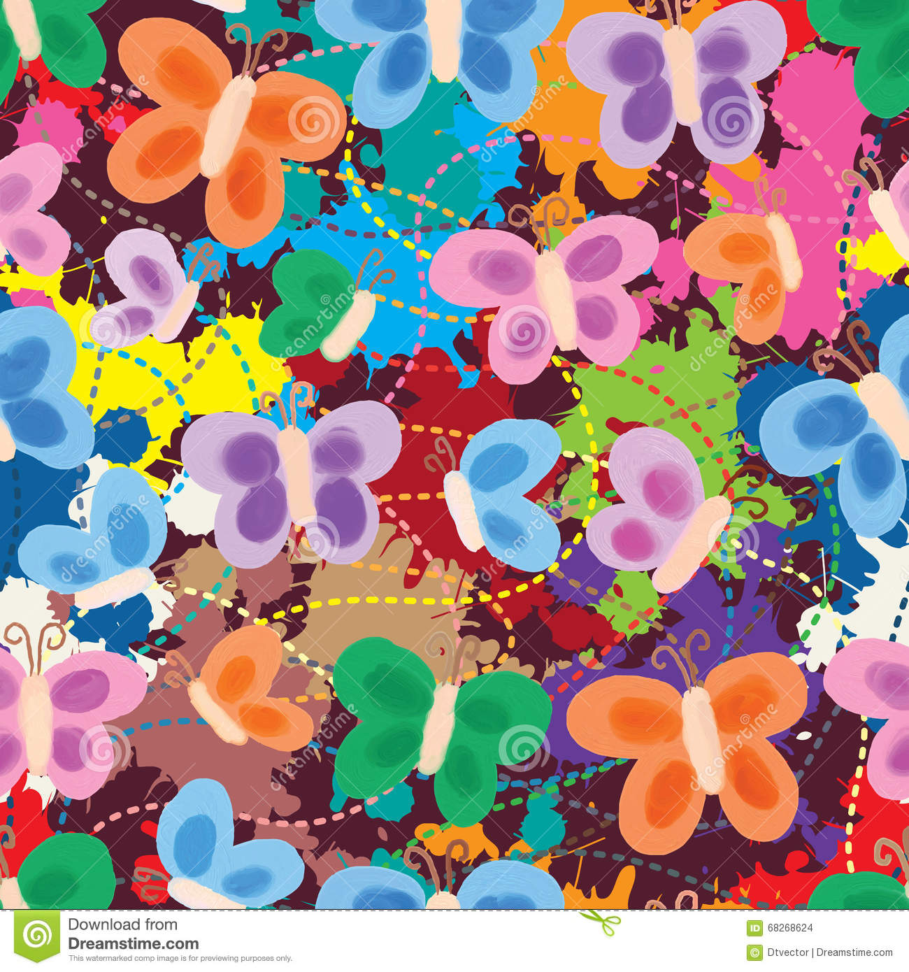Butterfly painting style drawing seamless pattern