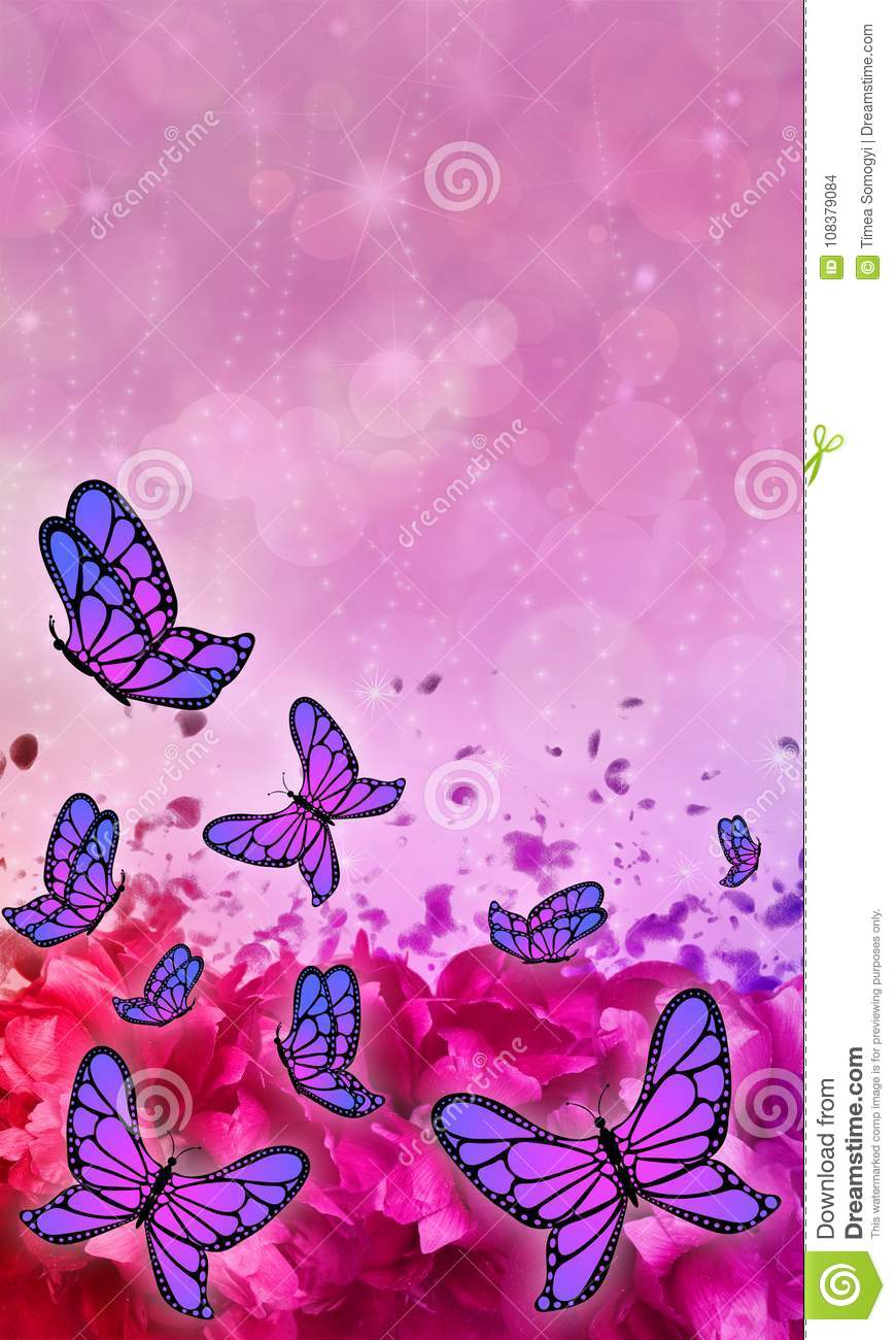 Butterfly Patterned Beautiful Abstract Mobile Phone Wallpaper Stock