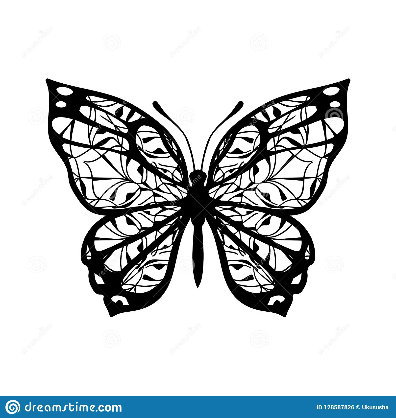 Butterfly With Patterned Wings Black On White Stock Vector