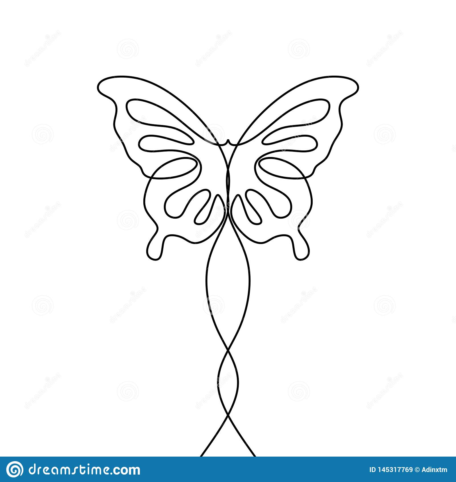 Butterfly with patterns on the wings continuous one line drawing element isolated on white background for logo or decorative