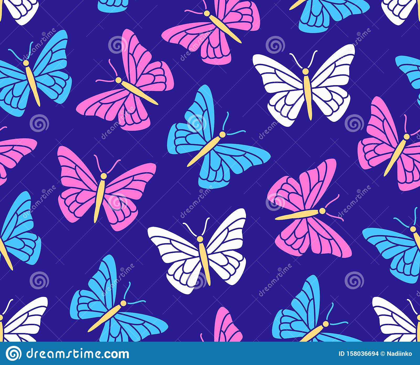 Butterfly Seamless Pattern. Flying Insects Background