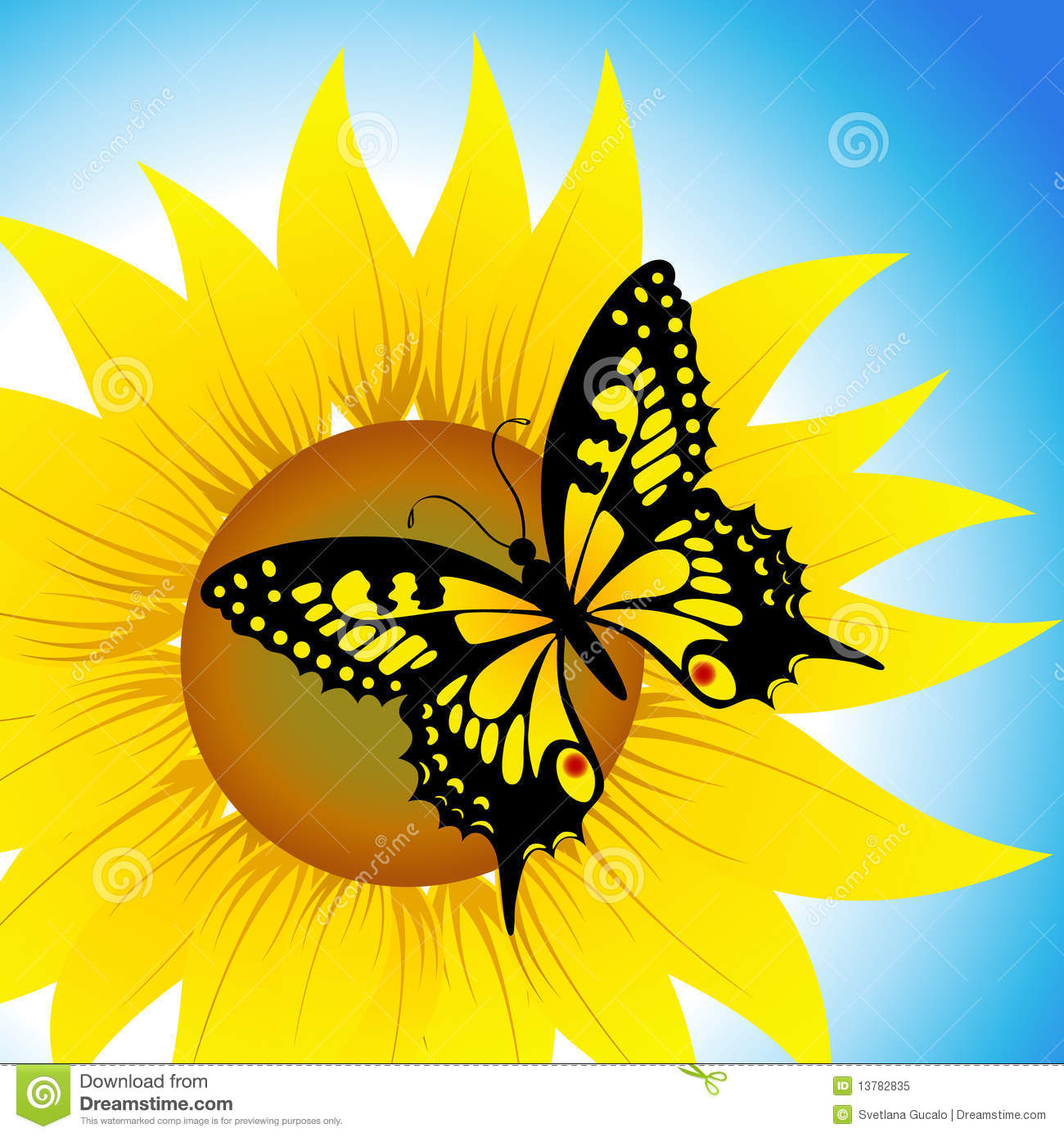 Butterfly Sitting On S... Yellow Hibiscus Clip Art