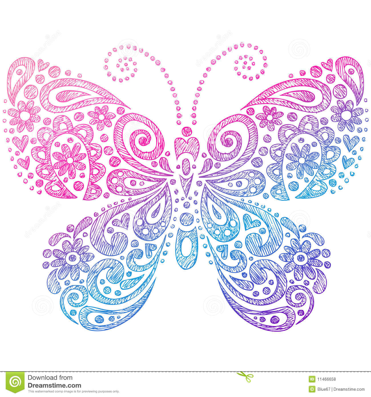 Butterfly Sketchy Notebook Doodles Stock Vector