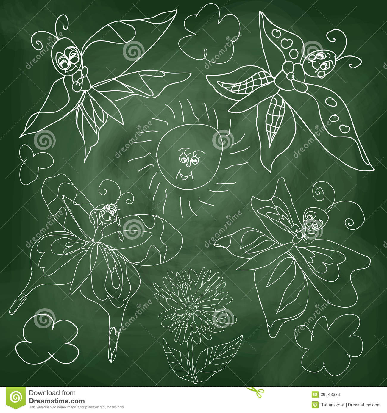 ... Outline different Butterfly,sun,clouds and flowers.Stylized drawing