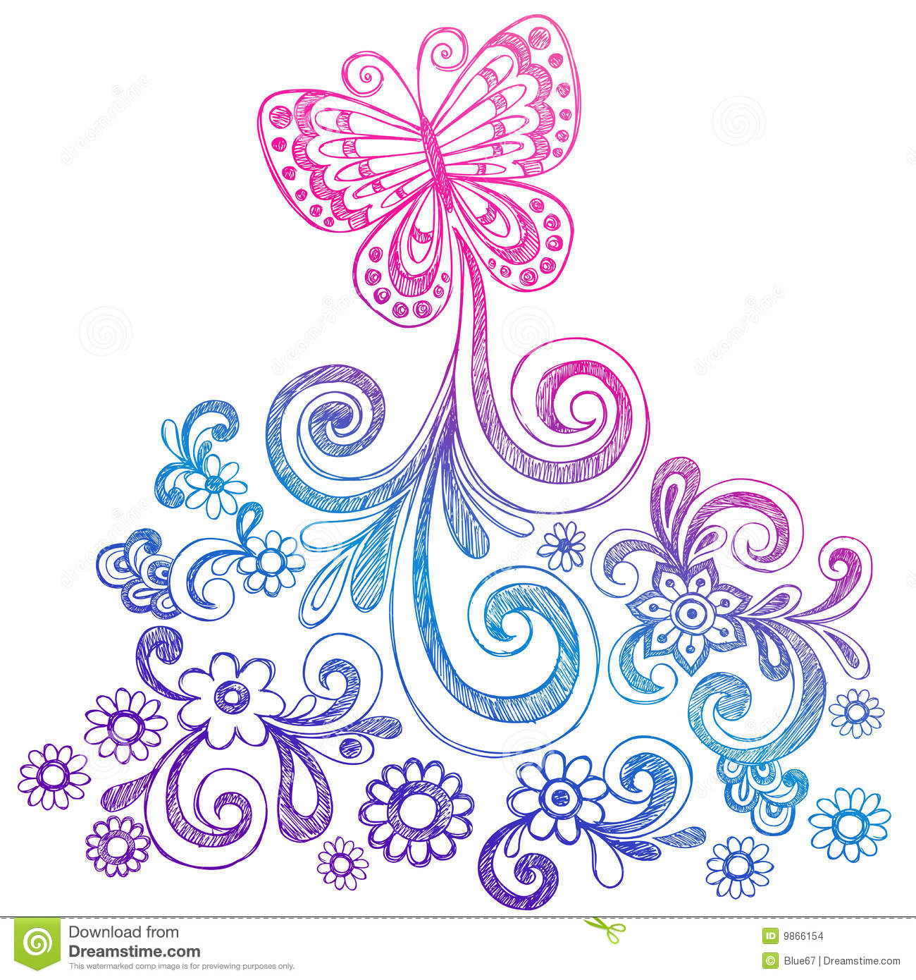 butterfly and swirls doodle vector stock vector illustration of sketchy cute 9866154. Black Bedroom Furniture Sets. Home Design Ideas
