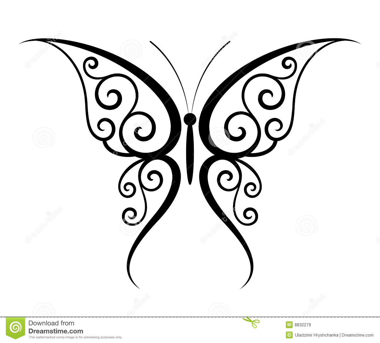 butterfly tattoo stock vector illustration of isolated 8832279. Black Bedroom Furniture Sets. Home Design Ideas