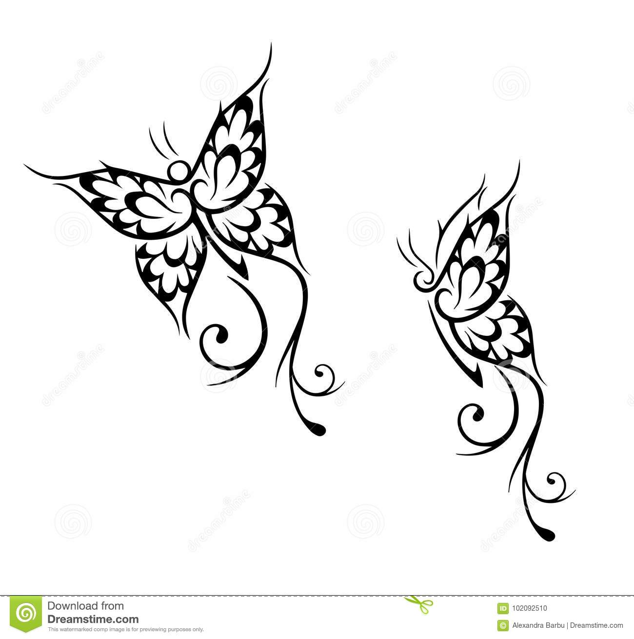 697828be32fed Butterfly tattoo stock vector. Illustration of element - 102092510