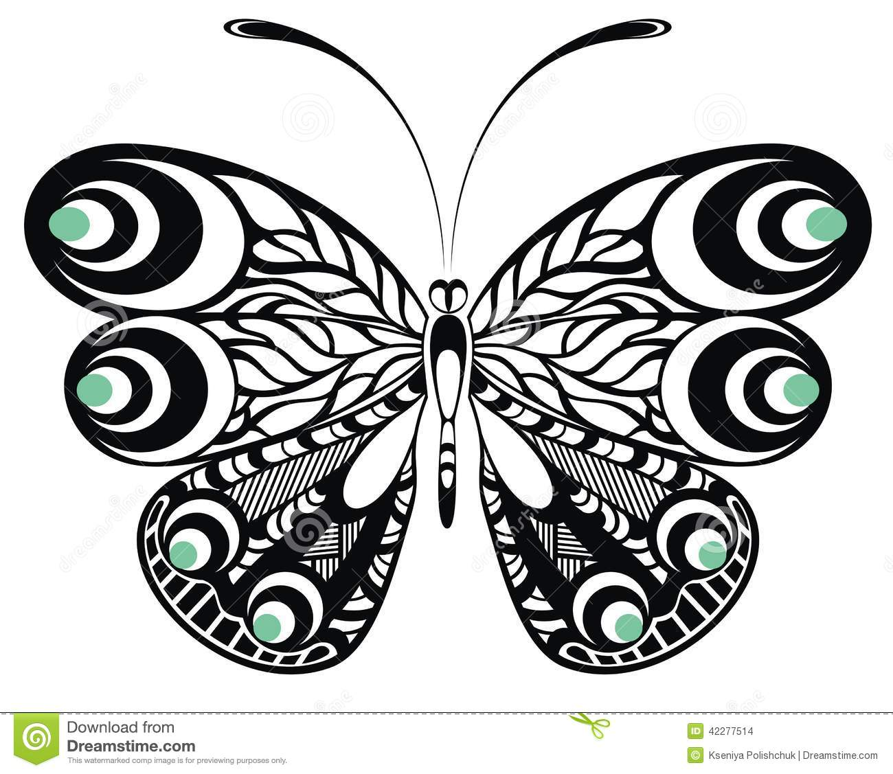 butterfly tattoo design stock vector illustration of fantasy 42277514. Black Bedroom Furniture Sets. Home Design Ideas