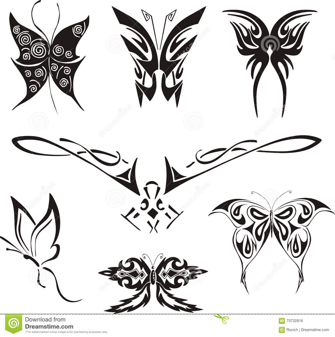 73584dcf401e7 Butterflies and Moths Tattoos Set. Black and white vector illustrations.
