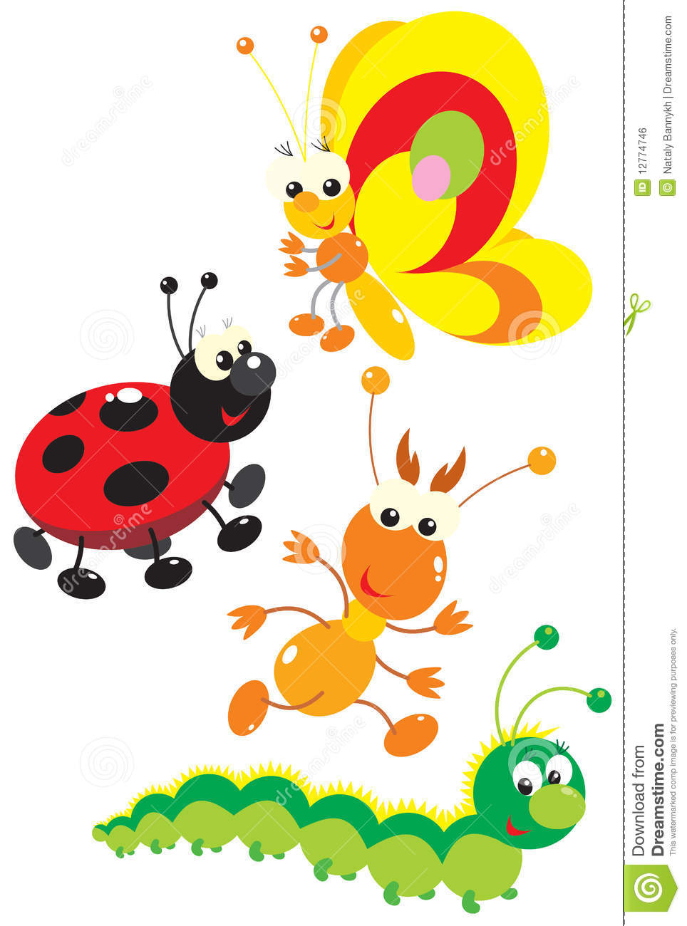 The clip-arts of the colorful insects drawn in the children's style ...