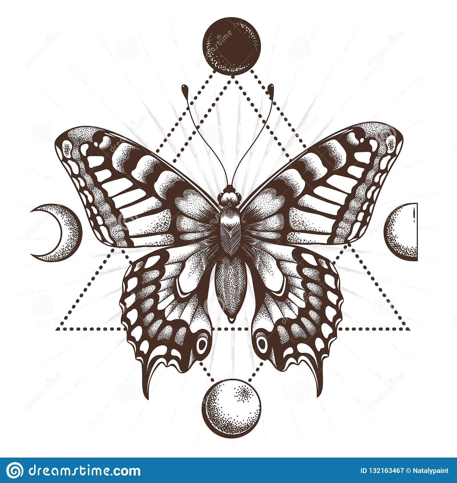 1659426fe37dc Butterfly in triangle. Moon phases. Sepia color.Tattoo Design. T-shirt  design. Mystical symbol of soul, immortality, rebirth and resurrection.
