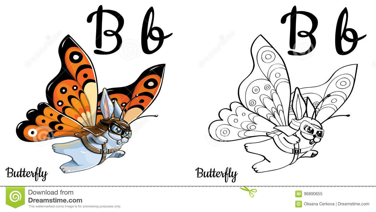 Download Butterfly Vector Alphabet Letter B Coloring Page Stock Illustration