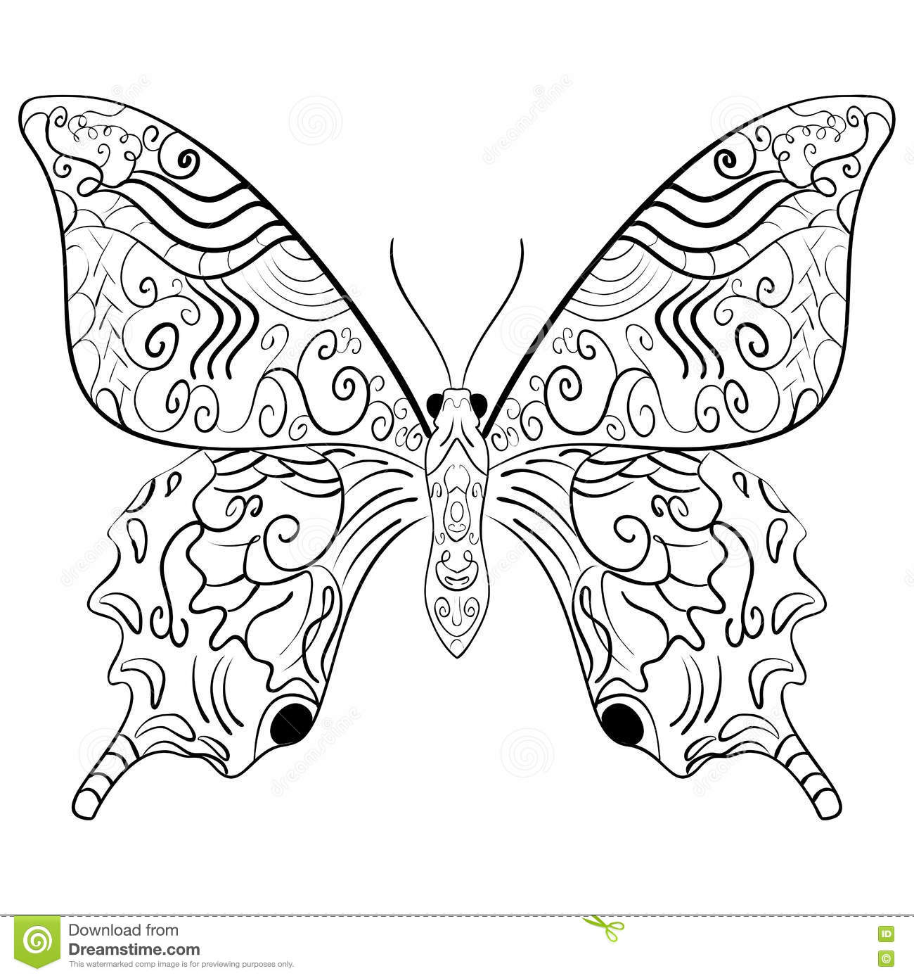 Butterfly Coloring Book For Adults Vector Illustration Anti Stress Adult Zentangle Style Black And White Lines Lace Pattern