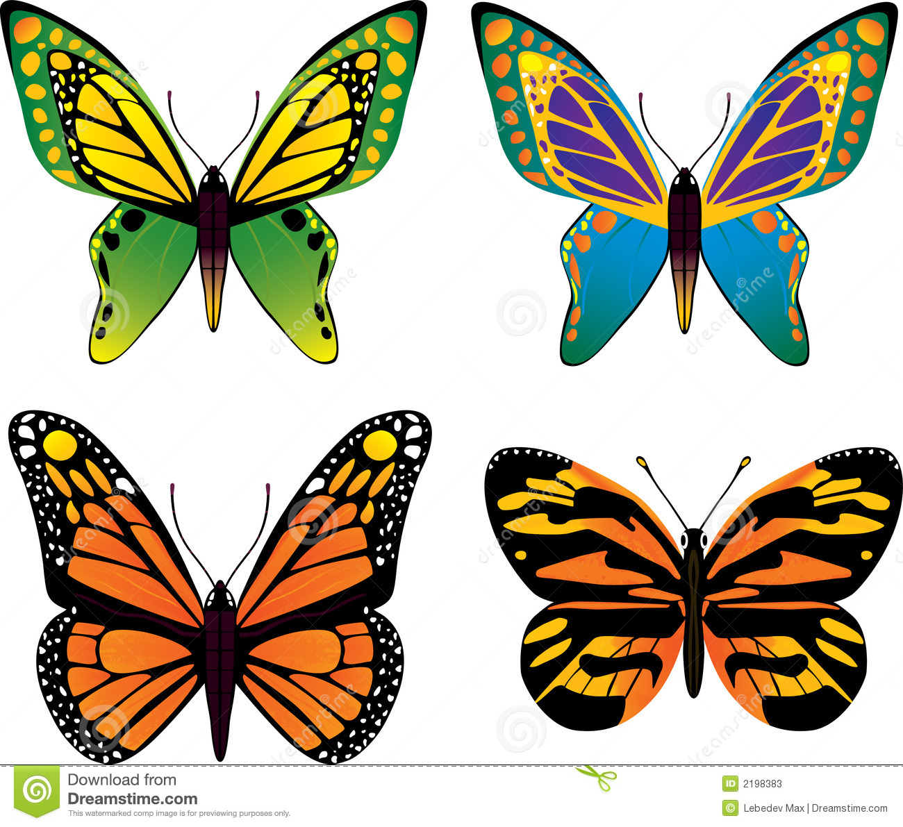 Butterfly vector illustration setfour different butterfly.