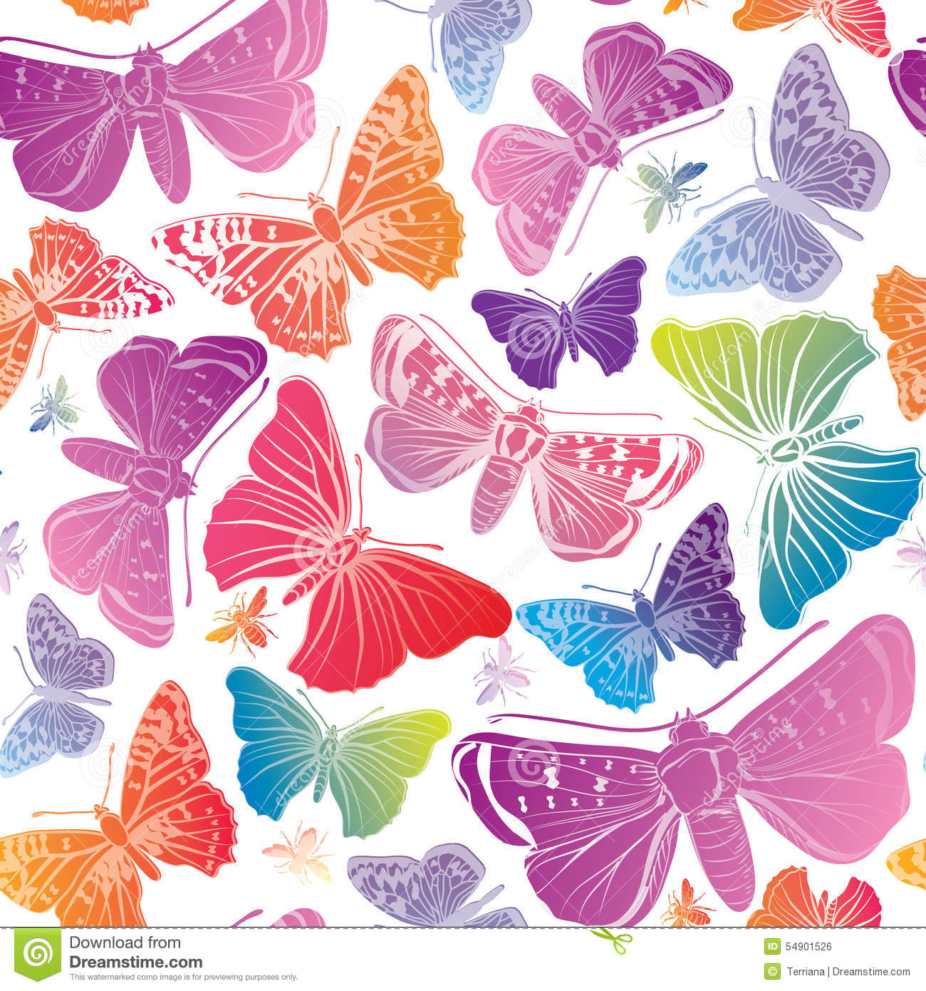 butterfly watercolor seamless pattern summer background stock