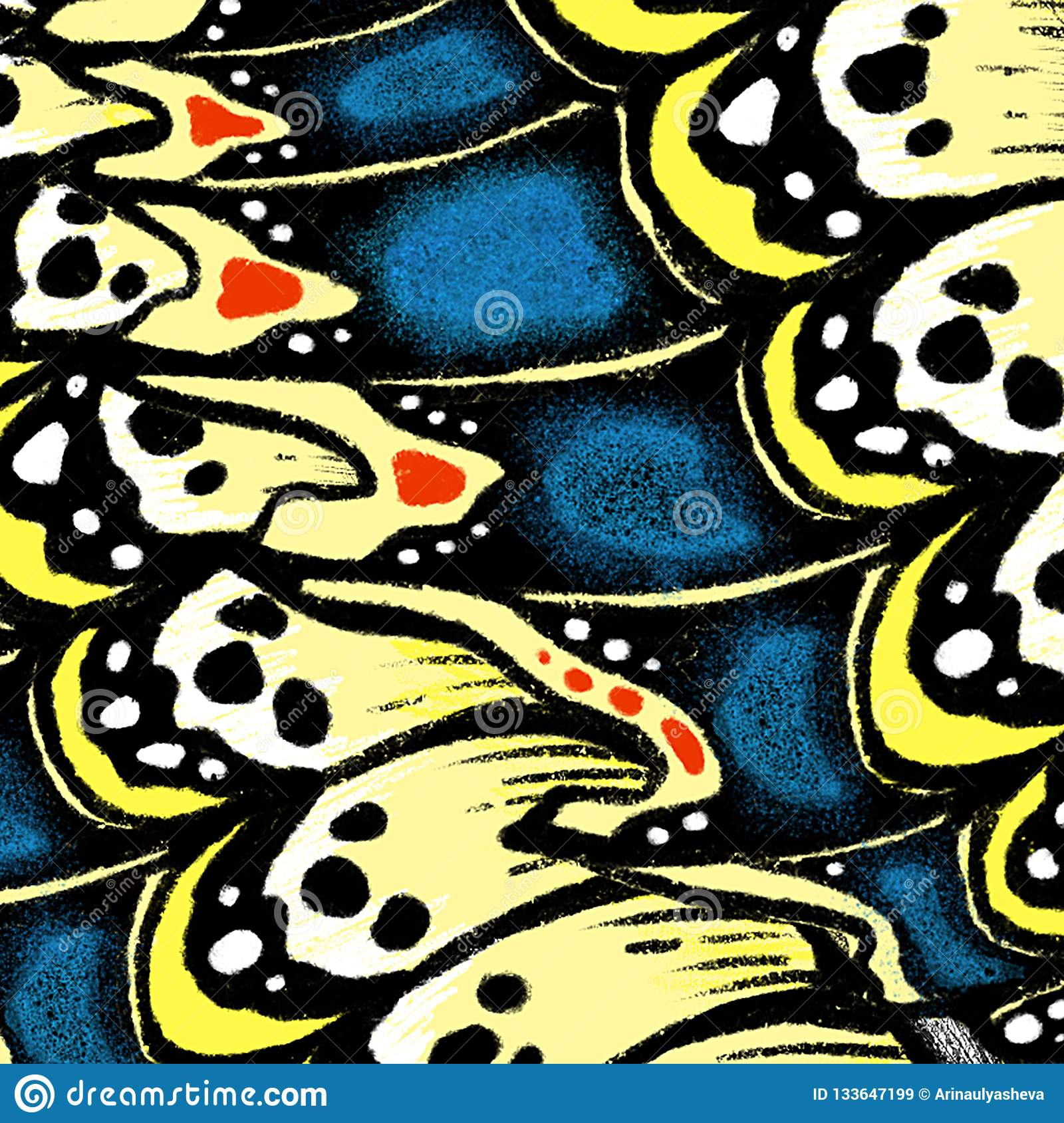Butterfly wings background with textures and details. Macro painting details