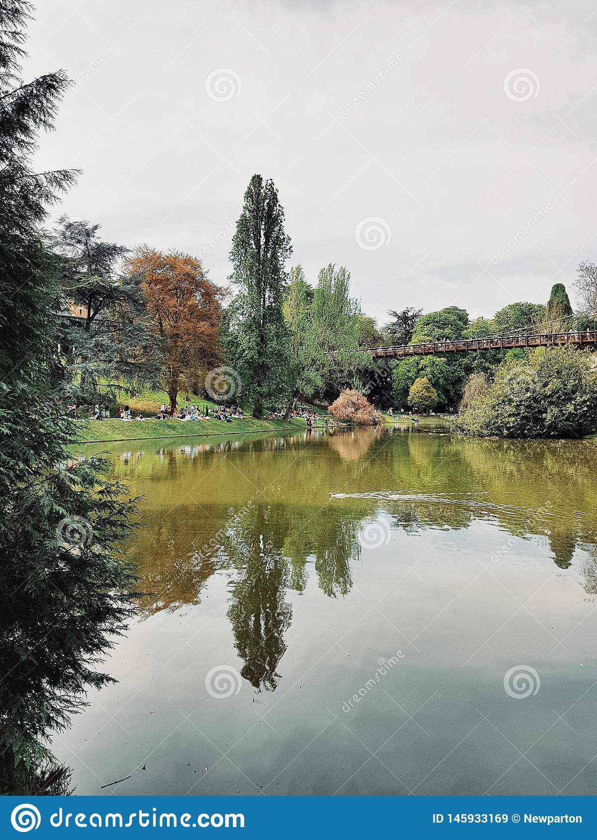 The Buttes Chaumont park, the most important green space in the north of Paris, France