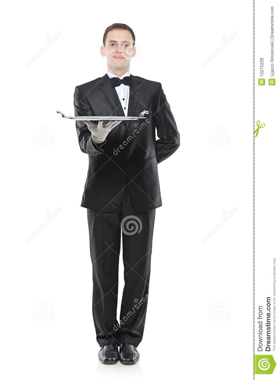 A Buttler Holding A Tray Royalty Free Stock Photos Image