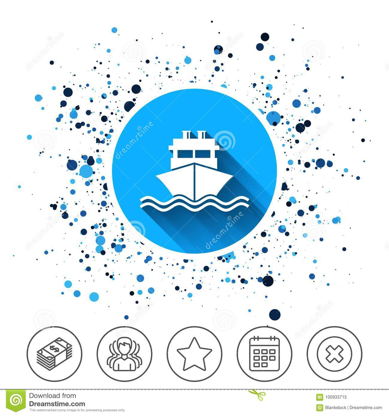 Ship Or Boat Sign Icon Shipping Delivery Symbol Stock Vector