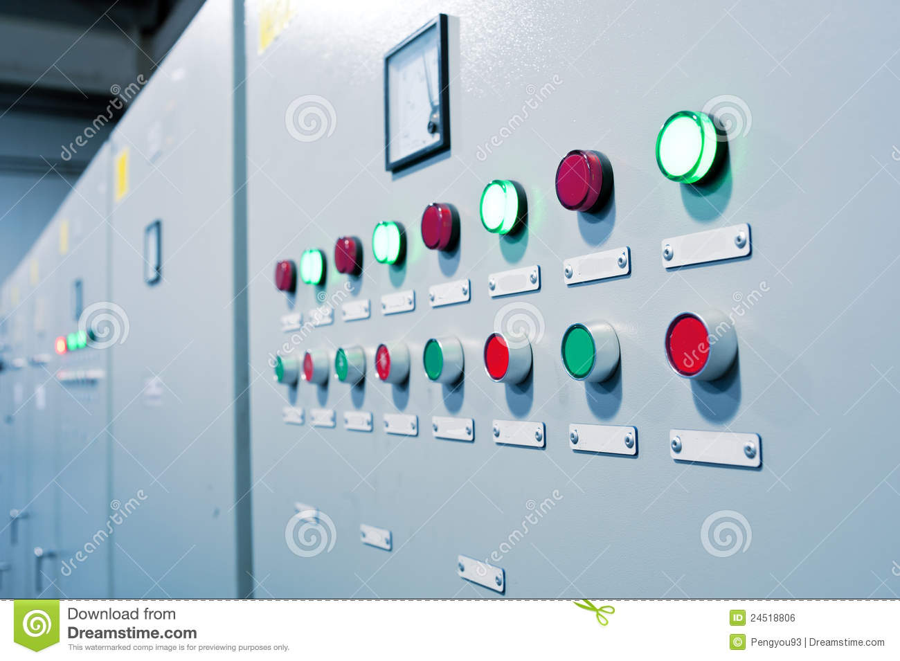 Button On The Control Room Cabinet Royalty Free Stock