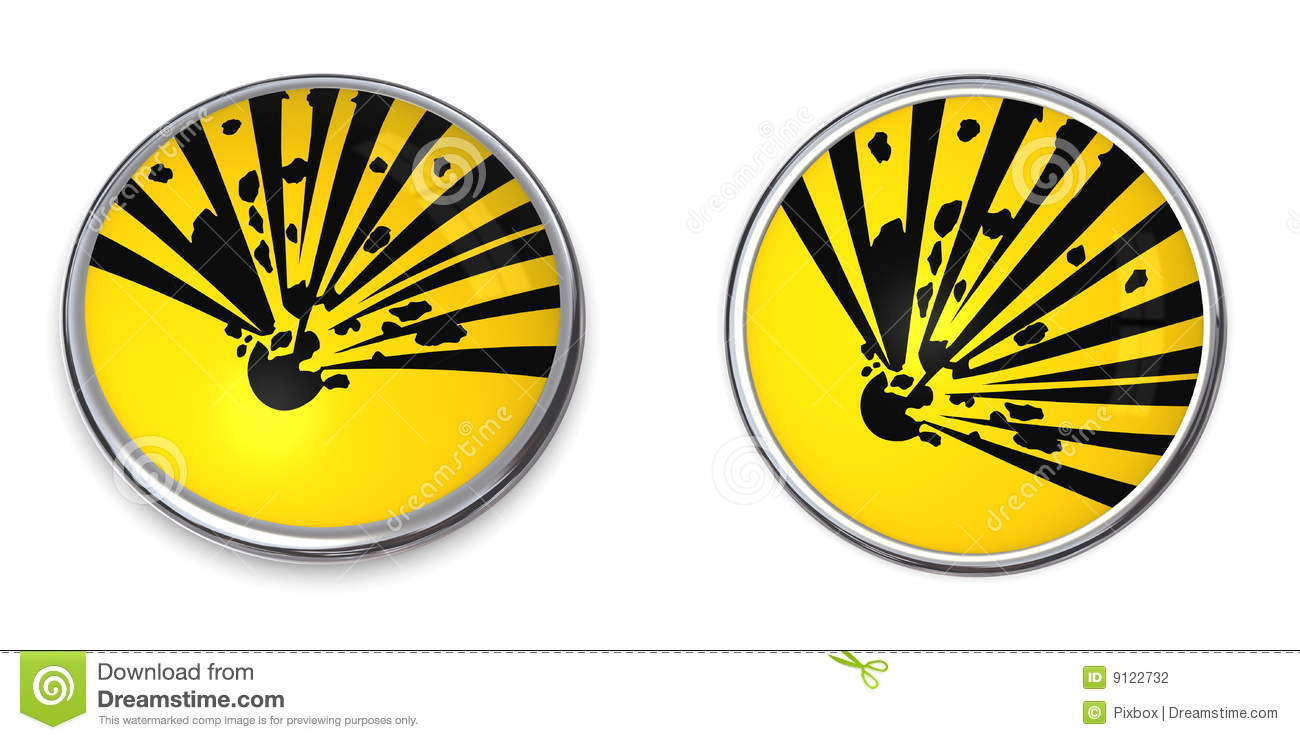 Button with yellow explosive material warning symbol - top and side    Explosive Symbol Vector