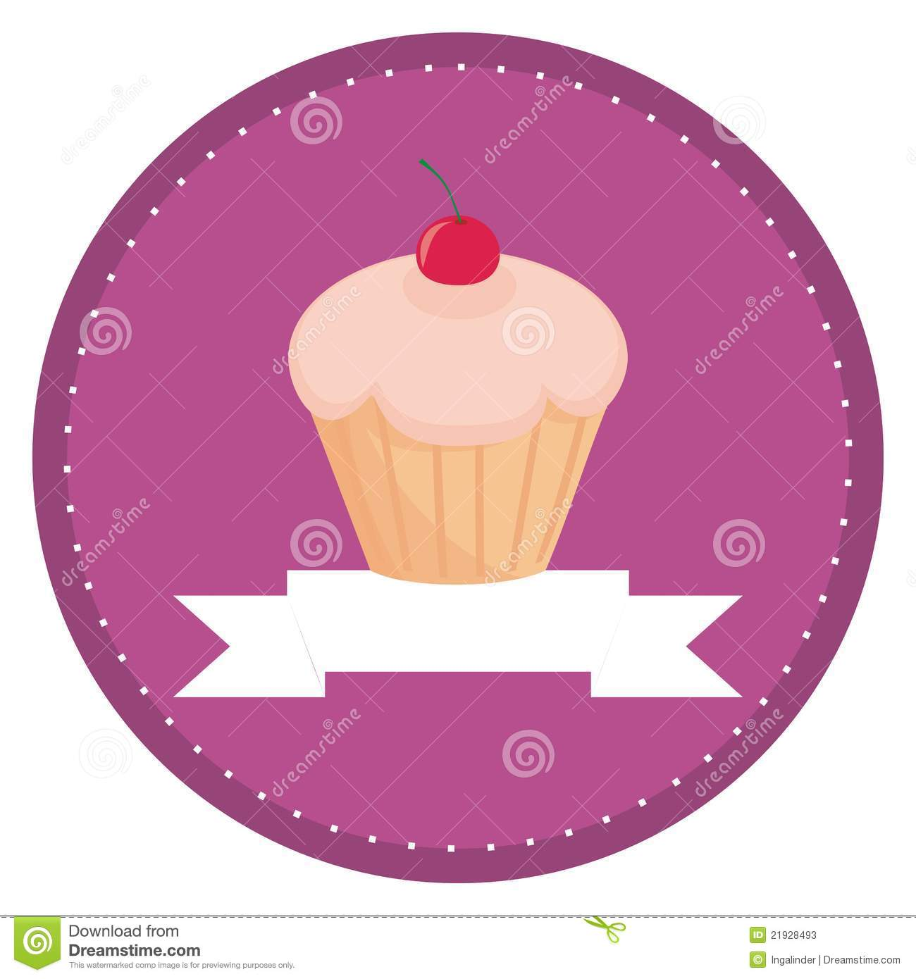 button logo or invitation card with cherry muffin stock