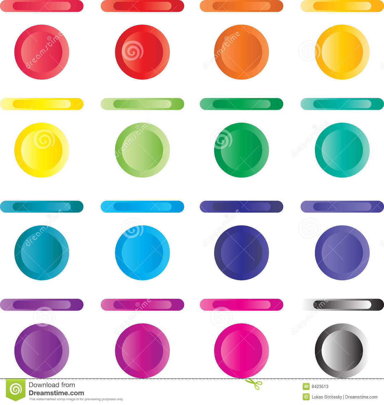 Button set of light buttons of red blue green stock for Light green blue color
