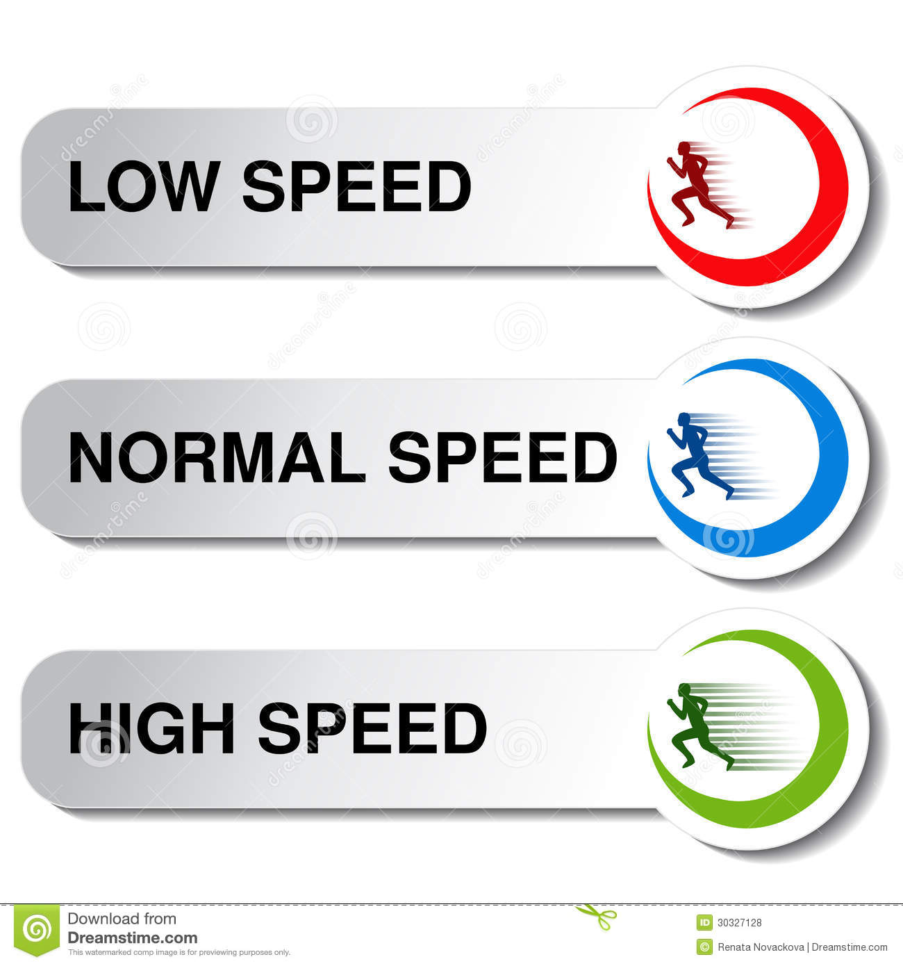 button of speed low normal high stock vector