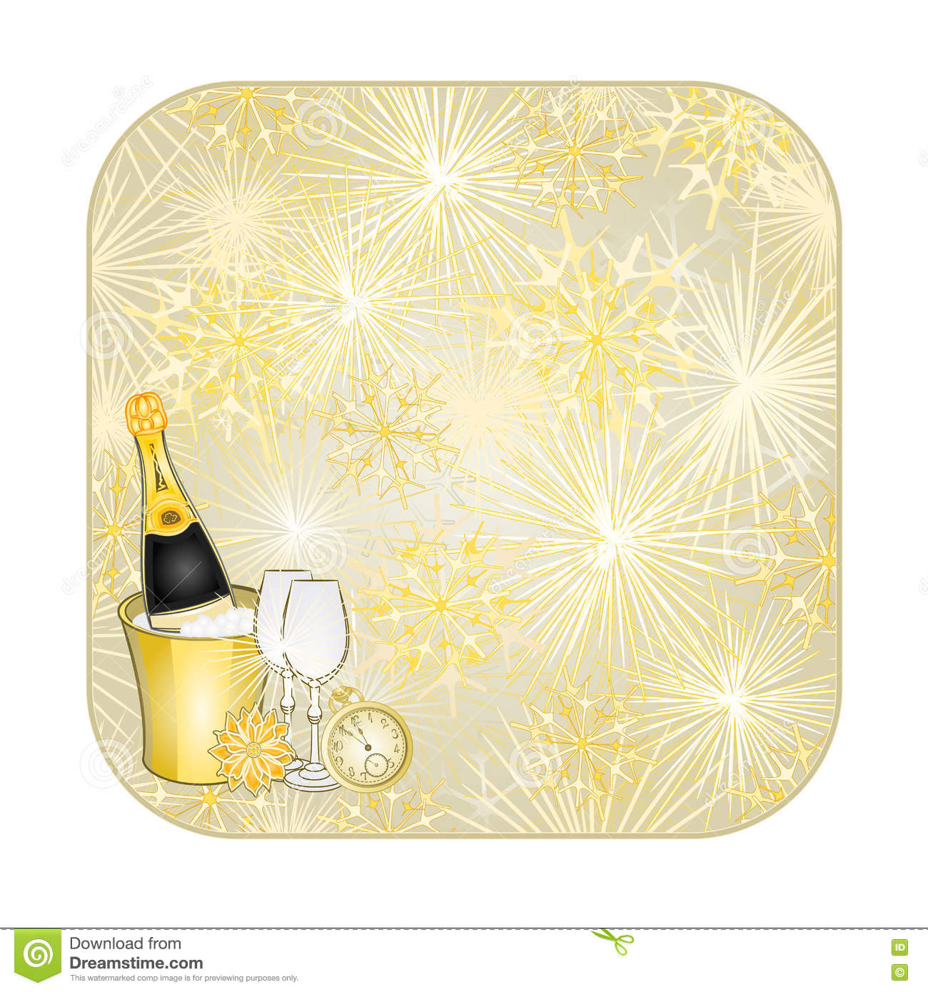 button square new year fireworks and midnight toast gold background vector