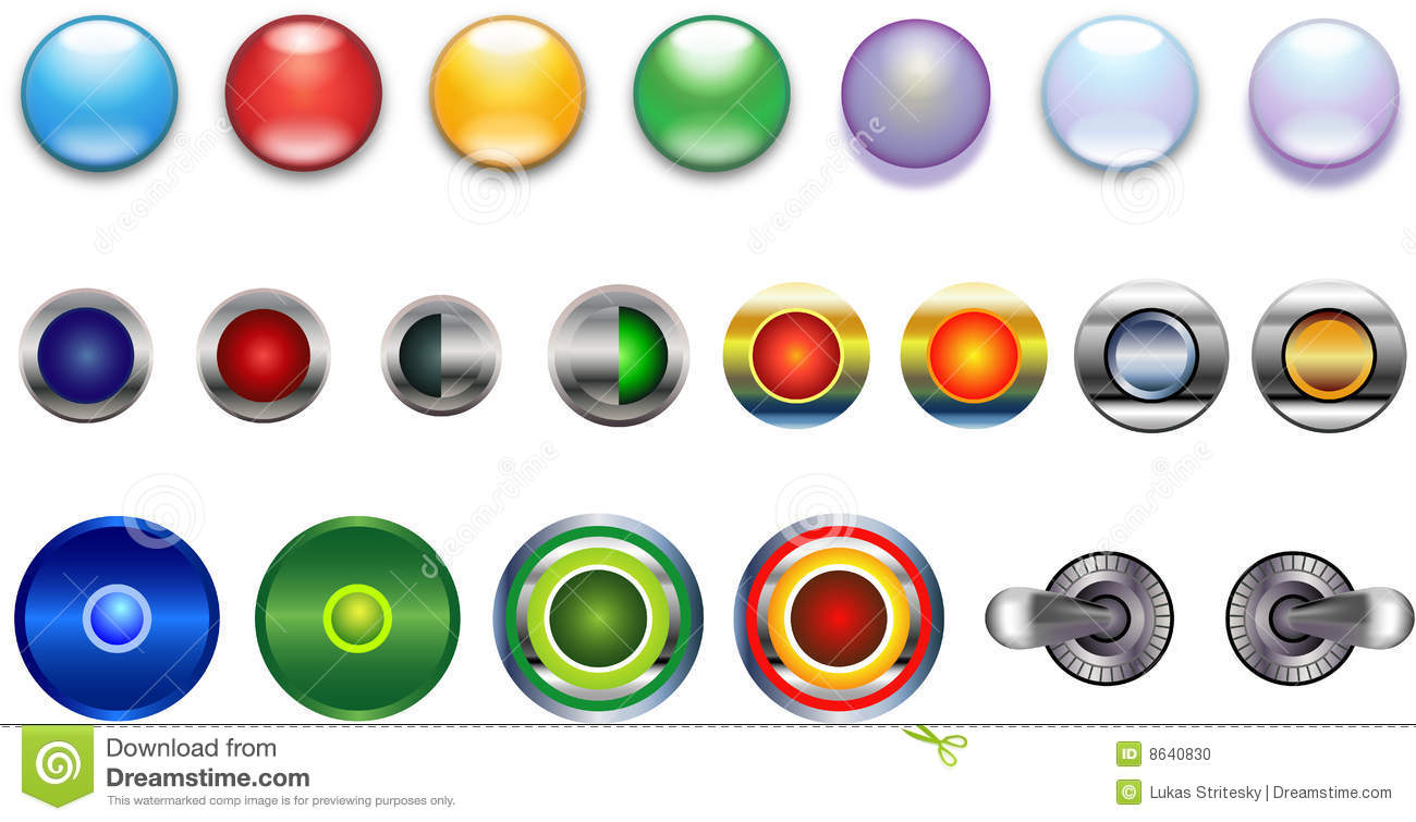 Buttons, Blue Red Yellow Green Violet Glassy Metal Stock ...